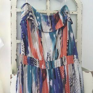 Long guess multi colored maxi dress size medium